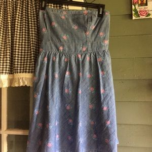 Strapless denim flowered strapless dress